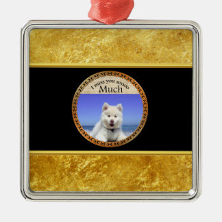 Cute Husky's with blue eye sitting on the beach Metal Ornament