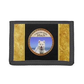 Cute Husky's with blue eye sitting on the beach Tri-fold Wallets