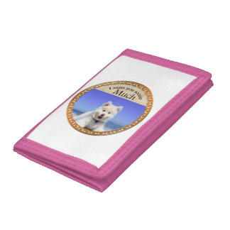 Cute Husky's with blue eye sitting on the beach Trifold Wallets
