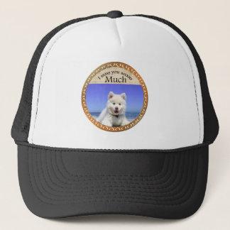 Cute Husky's with blue eye sitting on the beach Trucker Hat