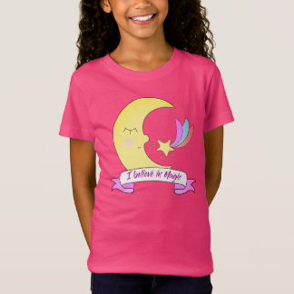 Cute I believe magic moon kids girl t-shirt