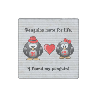 Cute I Found My Penguin Mate for Life Red Heart Stone Magnets