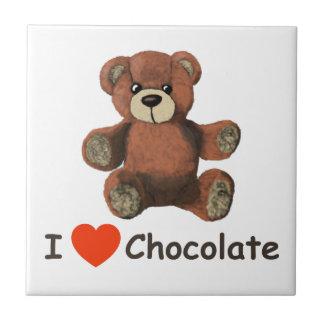 Cute I Heart (Love) Chocolate Teddy Bear Ceramic Tile
