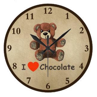 Cute I Heart (Love) Chocolate Teddy Bear Large Clock