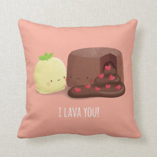 Cute I Lava You Food Puns Couple Throw Pillow
