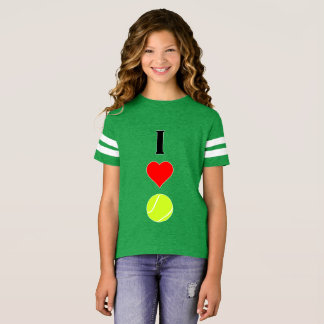 Cute I Love (Heart) Tennis Girls Jersey Shirt