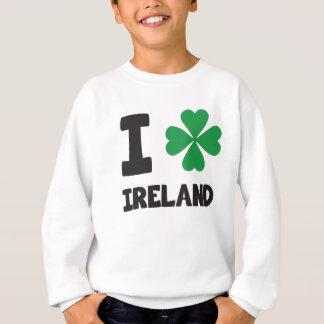 Cute I love Ireland Shamrock Lucky Leaf Print Sweatshirt