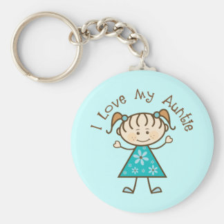 Cute I Love My Auntie Gift For Aunt Basic Round Button Keychain