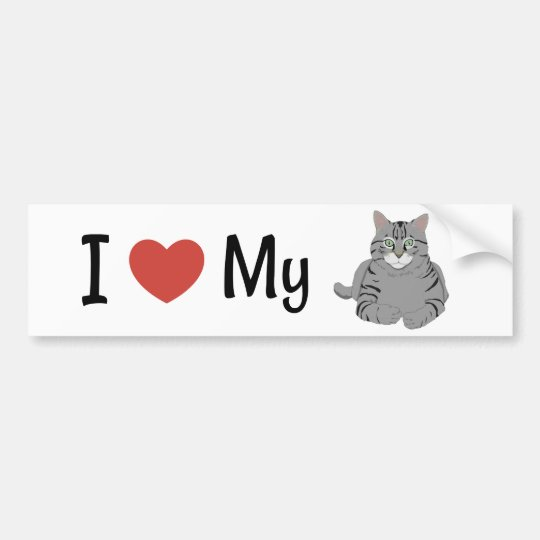 Cute I Love My Cat Bumper Sticker