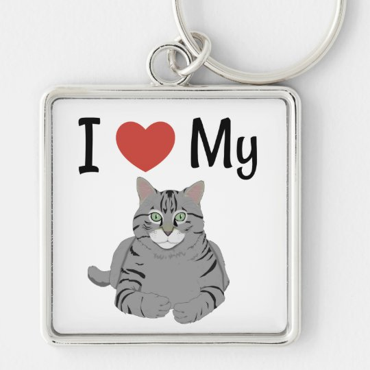Cute I Love My Cat Silver-Colored Square Keychain