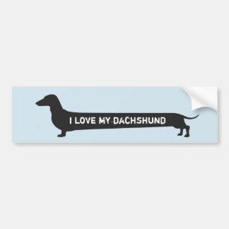 """Cute """"I love my dachshund"""" dog silhouette Bumper Sticker"""