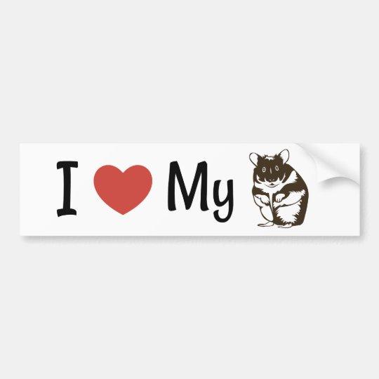 Cute I Love My Hamster Bumper Sticker
