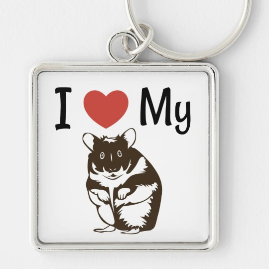 Cute I Love My Hamster Silver-Colored Square Keychain