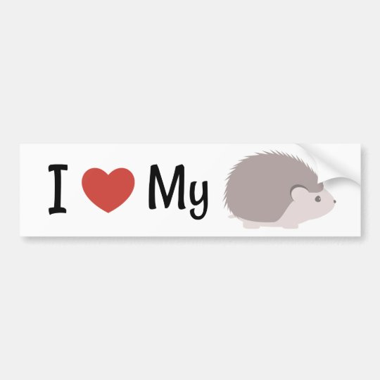 Cute I Love My Hedgehog Bumper Sticker