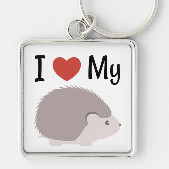 Cute I Love My Hedgehog Silver-Colored Square Keychain