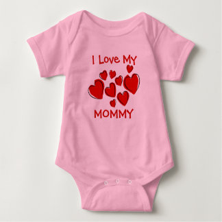 Cute I Love My Mommy Daddy Red Hearts New Mother Baby Bodysuit