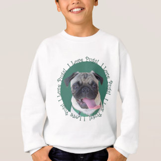 Cute I Love Pugs Dog Design Sweatshirt