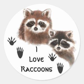 Cute, I love  Raccoon , Animal Nature Quote Classic Round Sticker