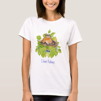 Cute I love Robins, Robin on Nest T-Shirt