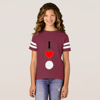 Cute I Love Volleyball Football-style Girls Jersey T-Shirt