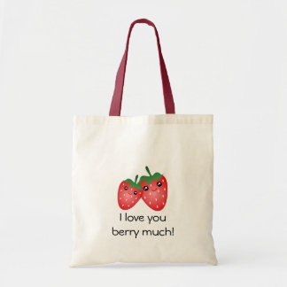 Cute I Love You Berry Much Kawaii Strawberry Fruit Tote Bag