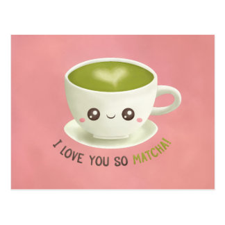 Cute I Love You So Matcha Pun Valentines Postcard