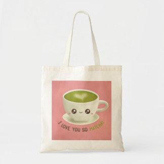 Cute I Love You So Matcha Puns Girls Tote Bag