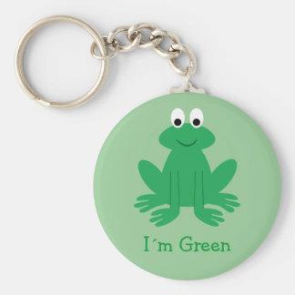 "Cute ""I´m Green"" Cartoon Frog Basic Round Button Keychain"