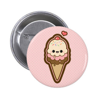 Cute Ice Cream Cone 2 Inch Round Button