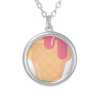 Cute Ice Cream Cone Silver Plated Necklace