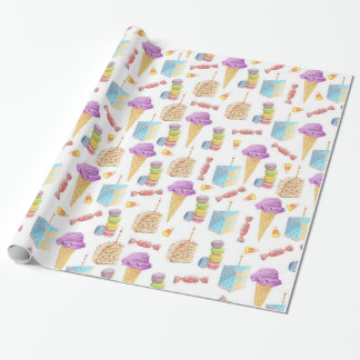 Cute Ice Cream Cones, Cake, and Cookies Patterned Wrapping Paper