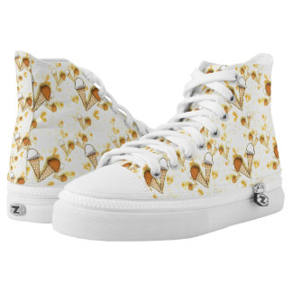 Cute Ice Cream Cones Pattern  High Top Zipz Shoes