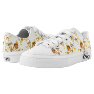 Cute Ice Cream Cones Pattern  Low Top Zipz Shoes