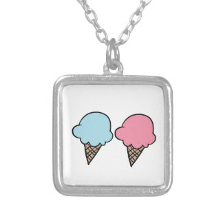 Cute Ice Cream shirts, accessories, gifts Silver Plated Necklace
