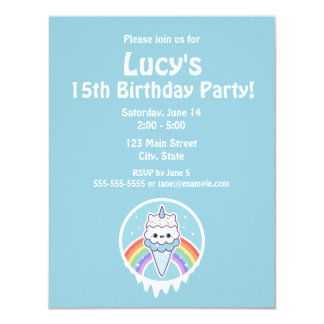 Cute Ice Cream Unicorn Birthday Party Invitations