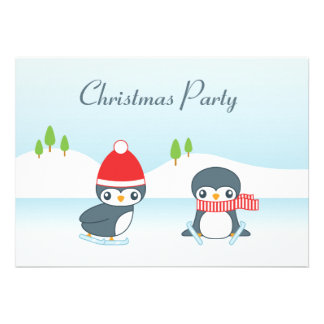 Cute Ice Skating Penguins Christmas Party Custom Invitation