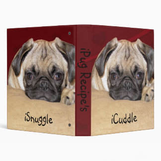 Cute iCuddle Pug Puppy 3 Ring Binder