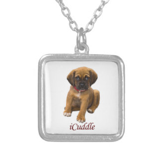 Cute iCuddle Puppy Dog Silver Plated Necklace