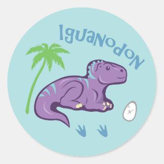 Cute Iguanodon Classic Round Sticker