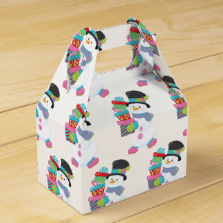 Cute Illustrated Snowman Holding Stack of Wrapped Favor Box