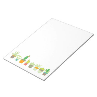 Cute Illustrated Succulent Garden Border Notepad