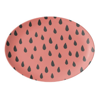 Cute Illustrated Summer Watermelon Seeds Pattern Porcelain Serving Platter