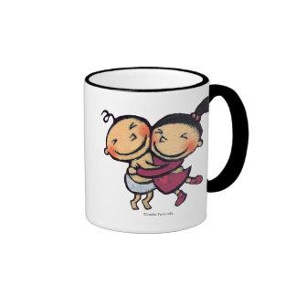 Cute Illustrated Toddlers Hugging Mugs