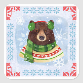 Cute Illustrated Winter Scarf Bear Sticker