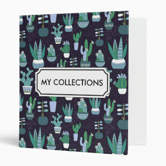 Cute illustration of cactus pattern 3 ring binder