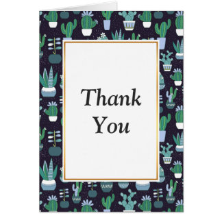 Cute illustration of cactus pattern card