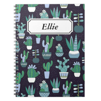 Cute illustration of cactus pattern spiral notebook