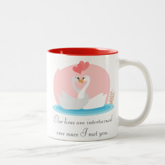 Cute illustration of swans in love Two-Tone coffee mug
