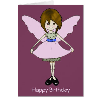 Cute, Impish Fairy Girl with Wings: Drawing Greeting Card