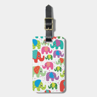Cute india elephant kids pattern travel tag